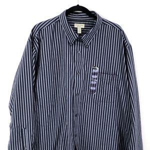 St Johns Bay Men's Navy Stripe Button Up Shirt XXL
